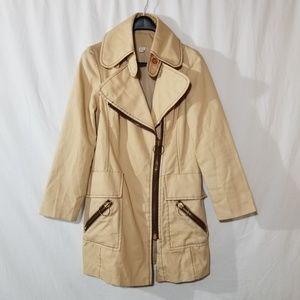 Vintage 1970s tan light cotton coat with zippers